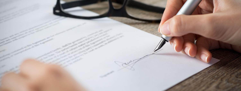 zmluva, podpis zmluvy
